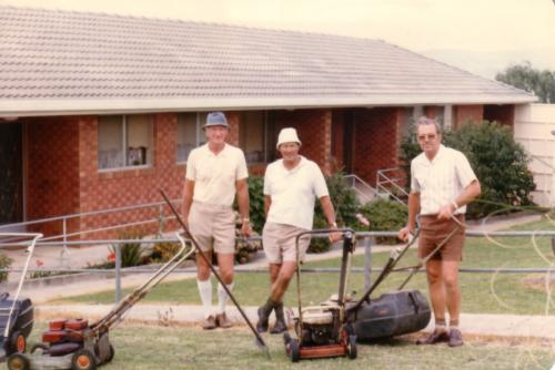 1980-81 Legacy Units mowing, Peter German, Horace Beasley, Bob Scott