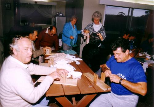 1984-85 Leprosy Bandages Cutting  and Rolling; Ken Matthews, Brian Johnson, Charles Barton, Margaret Johnson
