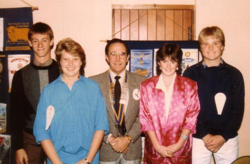 1985-86 President Joe Saunders with the RYPEN students; Gavin London, Peter Bass, Jane Robinson and Yvette Wilsdon