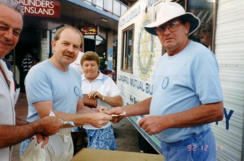 1992-12-11 Rotary  Ham Raffle; Ray Folkersma, Wayne Fry, Brian Johnson