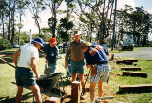 1996-97 Rotary Park installing barriers; Rotary Working Bee