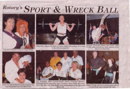 1999-11-17 Times Newspaper article, Rotary Sport and Wreck Ball at the Civic Centre