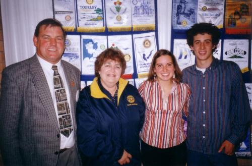 2003-07-08 President Roger Halls, Rotarian Lurline Wylie with French Youth Exchange student  Géraldine Augier and host brother Michael Shalhoub