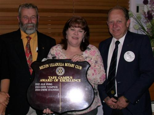 2004-10-19 TAFE Student of the Year; Rotarian Tom Law Cherie Stuckinsg and RotarianClive Cross