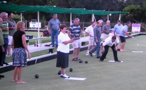 2008-01-22 Lawn Bowls Night, Allan Wealeans, Joe Puglisi, Bob White, Ali Tyquin, Carolyn Campbell, Tim Gregory, John Hozack, Wayne Fry, Rob Powell