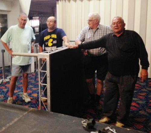 2014-04-26 Rotary Stage setting up; Jeff Franklin, Robert Richards, Keith Bennett, Dom Fondacaro
