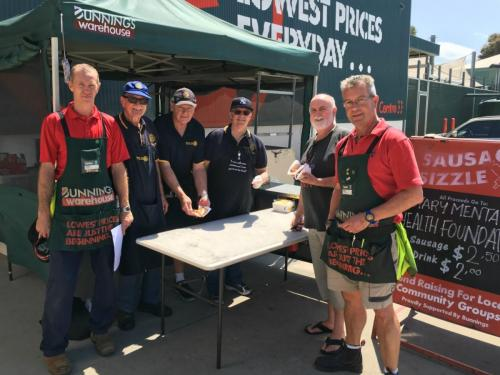 2015-10-09, Bunnings-Rotary BBQ for mental health; Mark Brown, Bill Harris, Cliff Workman, Trevor Schofield, Warren Reid, Mark Nichols