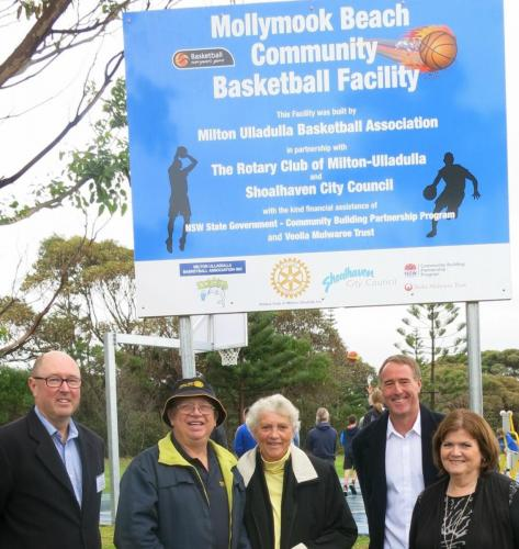 2016-06-18 Basket Ball half court opening, partly sponsored by the Rotary Club; Richard Nesbitt from the BBall Association, President Clive Cross Mayor Joanna Gash, Bruce Hughes, Shelley Hancock MP