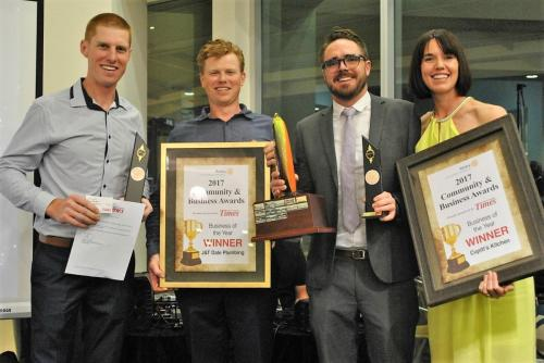 2017-09-08 Rotary Business Award Night; winners: TJ Dale Plumbing and Cupitt Restaurant, pic by Jessica McInerney