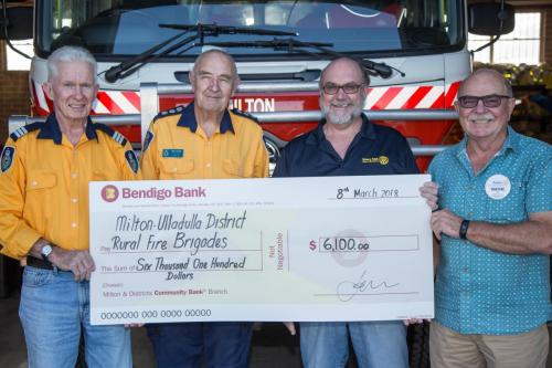 2018-03-08 Rotary Donation L-R Ross Cunningham, John Ashton, Phil Brown and Wayne Fry